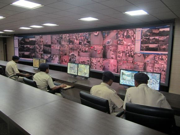 The 'wall of safety' in Surat's CCTV Command and Control Centre