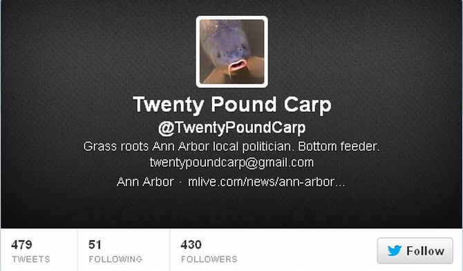 The Twitter page of 'Twenty Pound Carp'