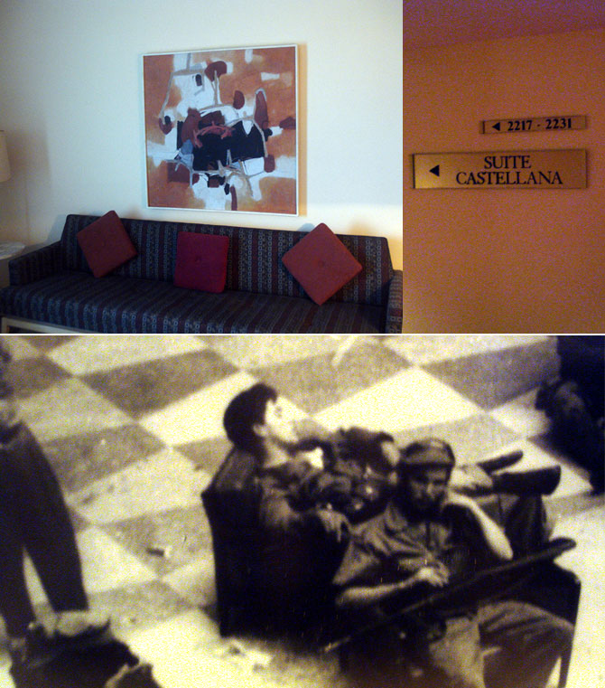 The suite on the 22nd floor of the Havana Libre hotel, Fidel Castro's office during the first three months after the Cuban revolution of January 1, 1959. The suite is understandably a tourist attraction, and is well preserved unlike most of the rest of the hotel where the Indian media accompanying Vice President Hamid Ansari stayed.