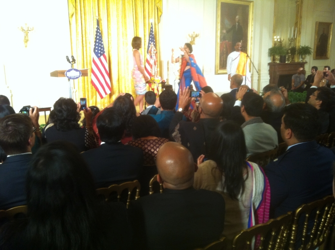 Michelle Obama with Mythili Bachi at the White House Diwali bash
