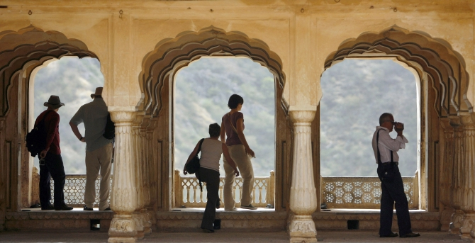 Tourists visit Amber palace in Jaipur