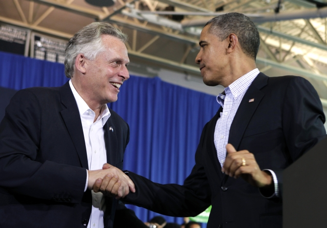 Terry McAuliffe with US President Barack Obama