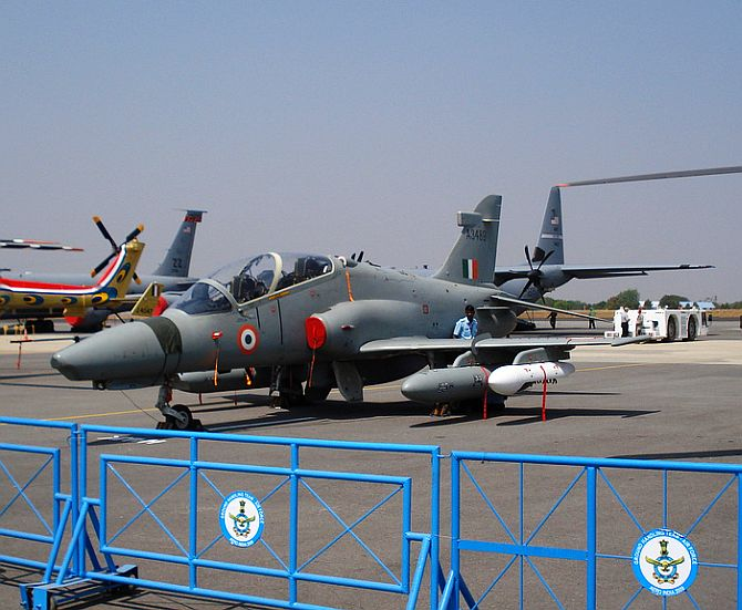 A Hawk-132 aircraft on display