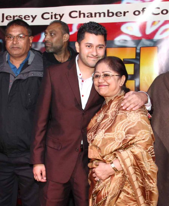 Raj Mukherji with his mother during the victory celebration