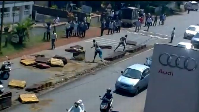 A video grab of the Nigerian protesting on Goa roads