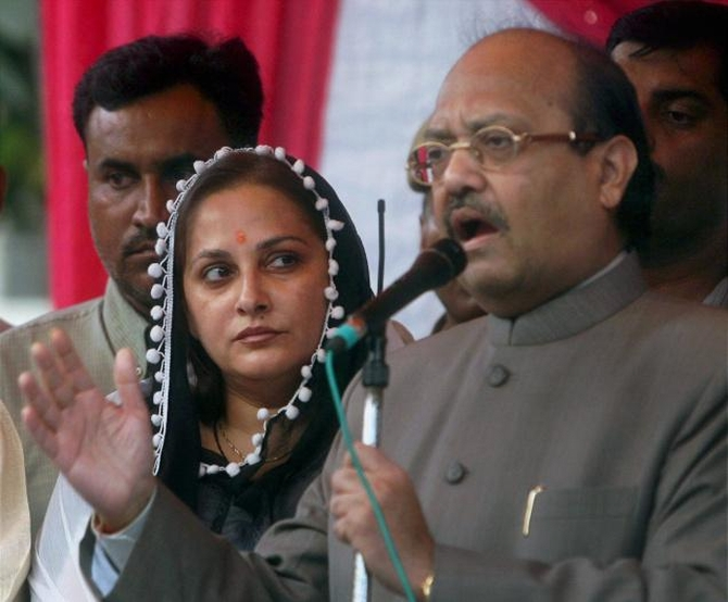 Amar Singh with actor-turned-politician Jaya Prada