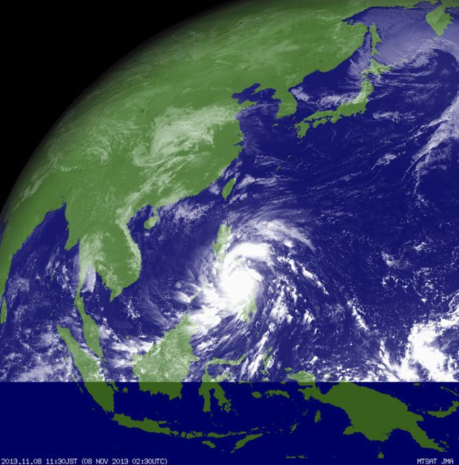 Typhoon Haiyan hits the Philippines in this weather satellite image, courtesy of the Japan Meteorological Agency