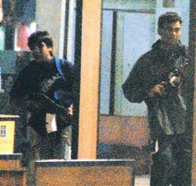 Ajmal Kasab, left, and Abu Ismail at the Chhatrapati Shivaji Terminus, November 26, 2008.