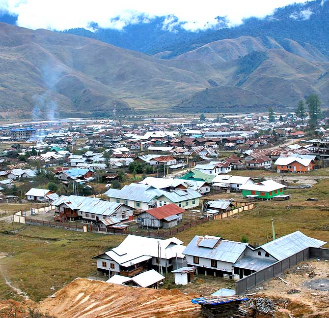 Menchuka, the last large village before the McMahon Line dividing India and China in Arunachal Pradesh.