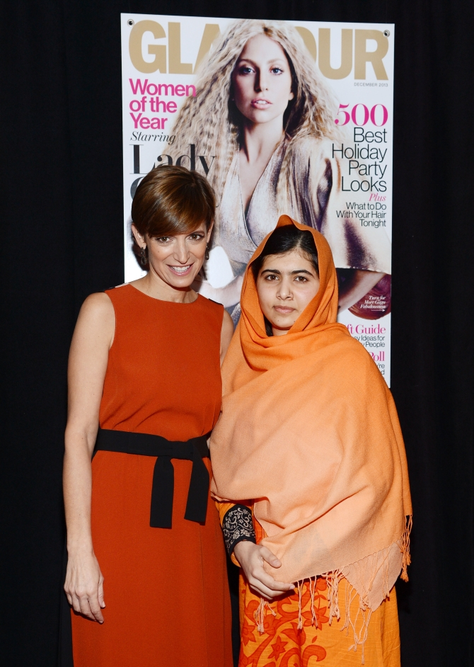 Glamour Editor-in-Chief Cindi Leive and Malala at the award function