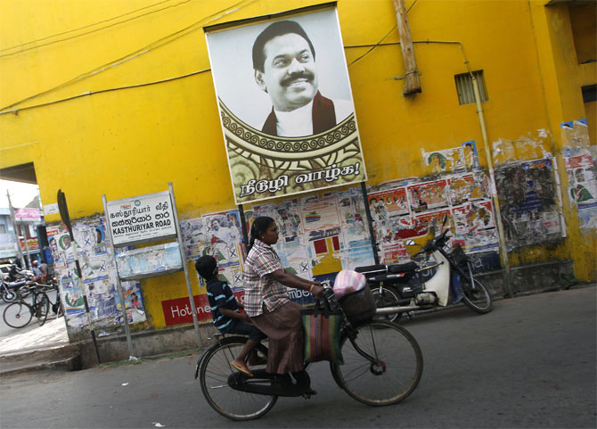 A picture of Sri Lankan President Mahinda Rajapakse before the first provincial polls in 25 years in Jaffna.