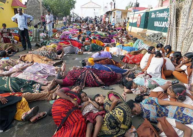 Demonstrators during a protest near the Kudankulam nuclear power project in Tamil Nadu.