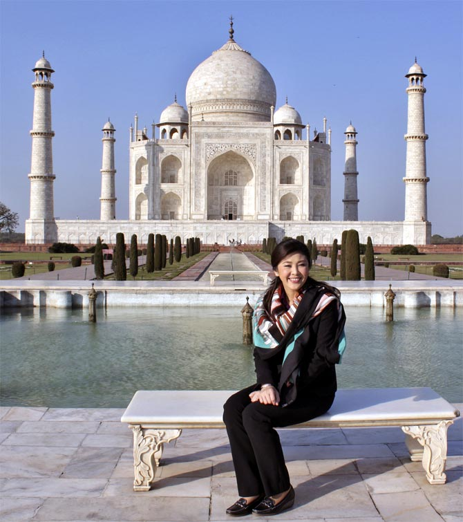 Thailand Prime Minister Yingluck Shinawatra at the Taj Mahal in January 2012. Shinawatra was the chief guest at India's Republic Day.