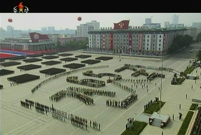 A parade marks the 1948 establishment of North Korea, in Pyongyang in this still image taken from video released by KRT, North Korean state TV on September 9, 2013.