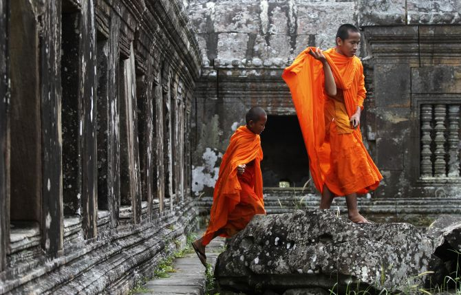 Buddhist monks visit the 900-year-old Preah Vihear temple