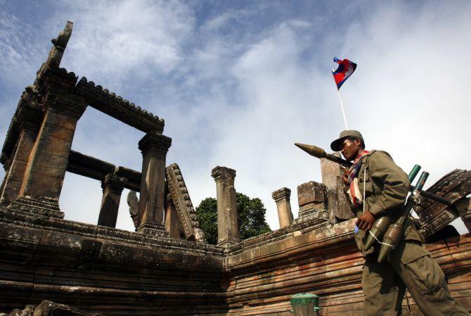 A Cambodian soldier patrols at Preah Vihaer temple