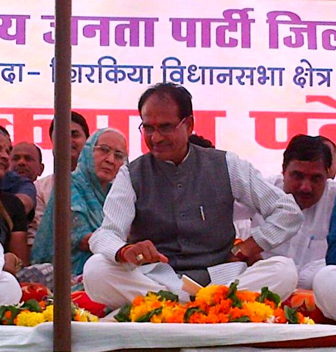 Shivraj Suingh Chouhan at a campaign rally in Harda