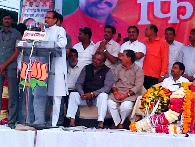 Shivraj Singh Chouhan addresses his supporters during a campaign rally at Barotha