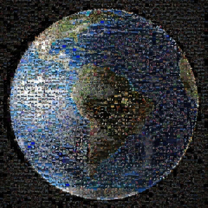 In this collage the Earth is used as the base image