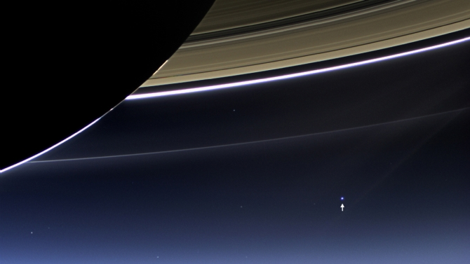 In this rare image, the wide-angle camera on NASA's Cassini spacecraft captured Saturn's rings, the Earth and its moon in the same frame