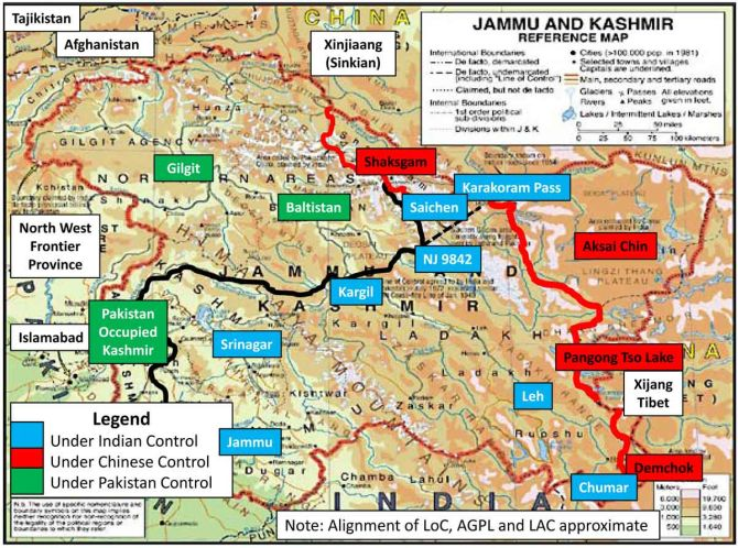 Map showing the border of princely state of Jammu and Kashmir touching Afghanistan and Tajiskistan