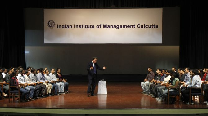 Britain's Prime Minister David Cameron speaks during an interactive session with the students of the Indian Institute of Management Calcutta