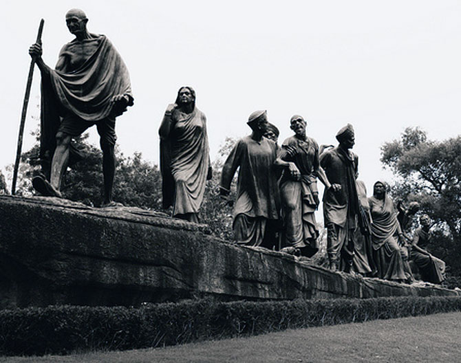 The famous sculpture of freedom fighters in New Delhi.
