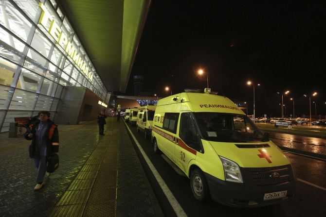 Ambulances are seen outside the main building of Kazan airport following the plane crash on Sunday.