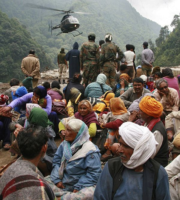Rescue work in progress during the June flash floods that ravaged Uttarakhand