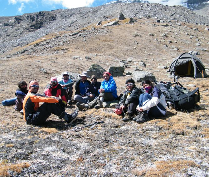 The team relaxing at the base camp after accomplishing their mission