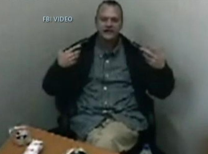 An FBI video grab of Headley's interrogation in US