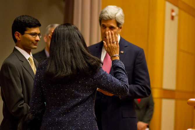 Nisha Biswal sworn-in by US Secretary of State John Kerry as the new Assistant Secretary for South and Central Asia.
