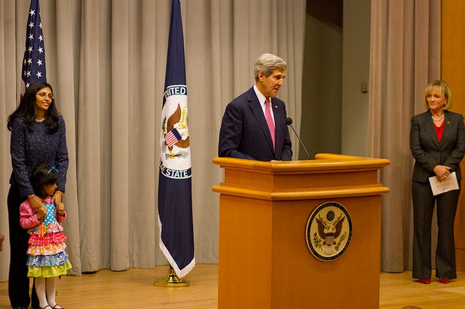 John Kerry speaks during Nisha Desai Biswal's swearing-in ceremony at Washington, DC