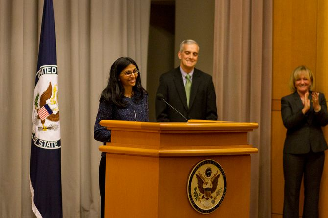 Biswal speaks during her swearing-in ceremony at Washington, DC