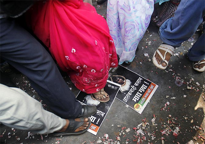 A protest against Ajmal Kasab, the 26/11 terrorist who was arrested, tried, convicted and then hanged.