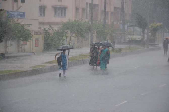 Heavy rainfall is seen in Andhra Pradesh's East Godavari district on Friday