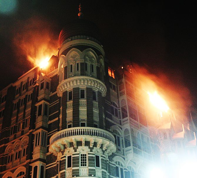 The Taj hotel during the attacks.