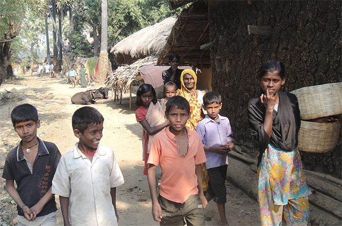 Children in the village. The walk to Rajauli bazaar is one hour away.