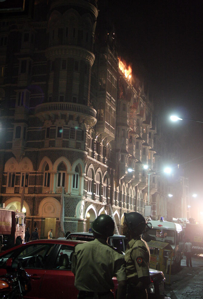 The Taj Mahal Hotel in Mumbai under attack on November 26, 2008