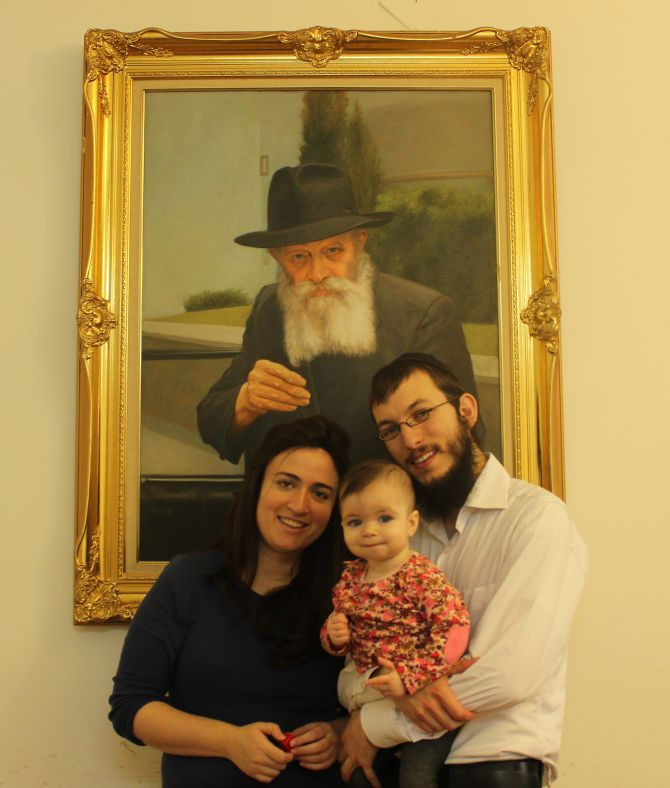 Rabbi Israel Kozlovsky, his wife Chhaya and their 18-month daughter Nava.