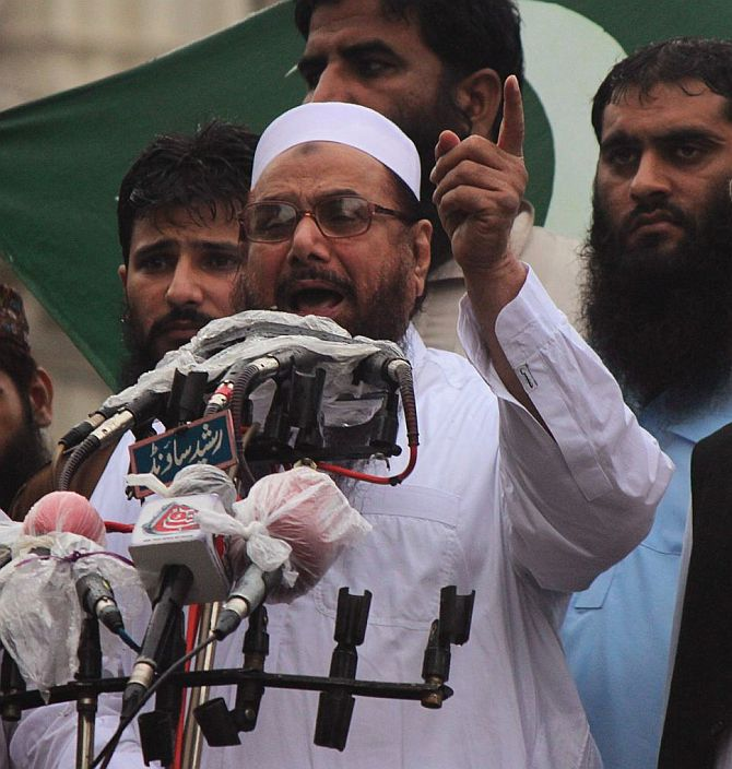 Lashkar founder Mohammad Saeed at an anti-India rally in Pakistan.