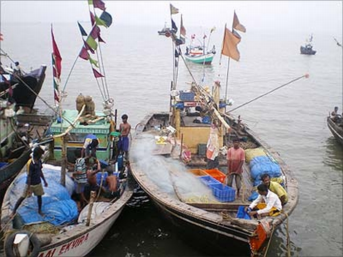 Boats docked at Machhimarnagar Colony in Colaba, Mumbai.