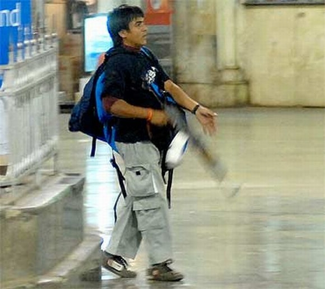 Ajmal Kasab caught on camera while gunning down commuters at Mumbai's Chhatrapati Shivaji Terminus on 26/11.