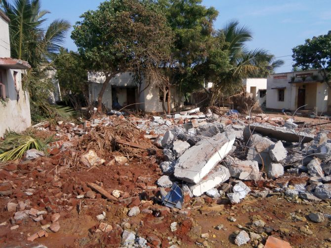 The debris at the blast site that obliterated an entire house in Tsunami Colony, Idinthakarai
