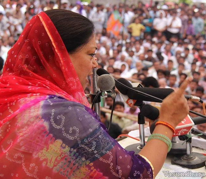 BJP's Rajasthan chief ministerial candidate Vasundhara Raje addresses a rally