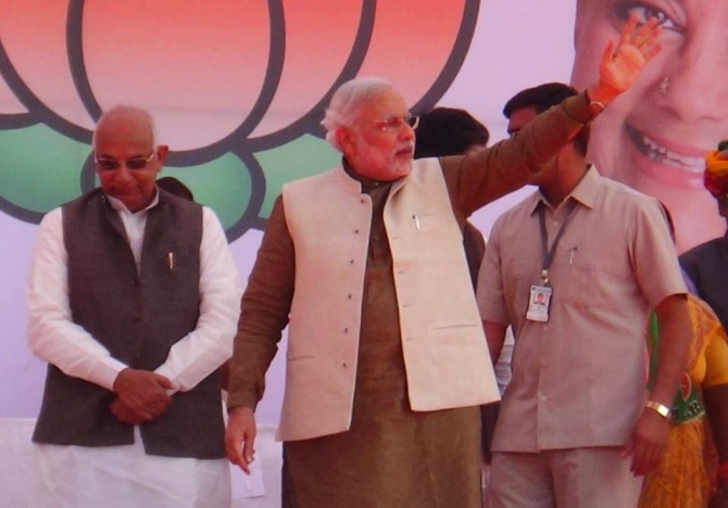 Gujarat Chief Minister Narendra Modi at a rally in Ajmer