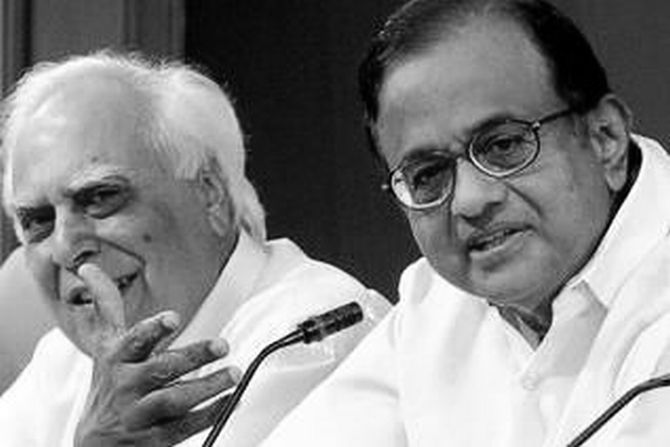 Union ministers P Chidambaram and Kapil Sibal