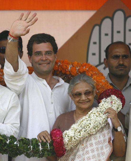 Rahul Gandhi with Delhi Chief Minister Sheila Dikshit