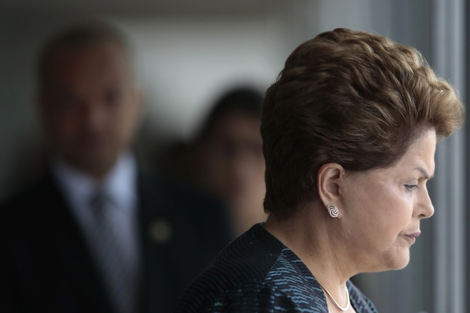 Brazil's President Dilma Rousseff waits during a welcoming ceremony in Brasilia