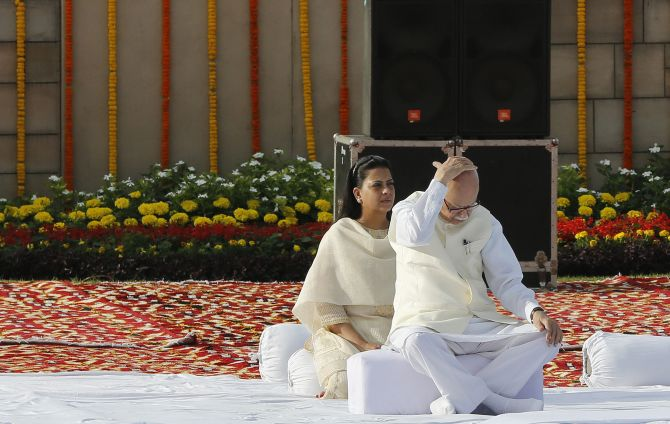 Senior BJP leader LK Advani and his daughter Pratibha at Rajghat on Wednesday